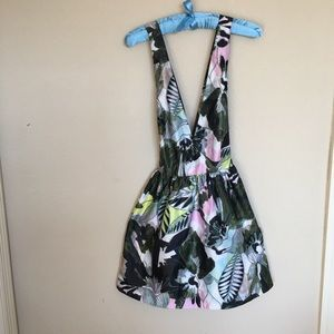 Tropical Palm Print Dress Low Cut Criss Cross Back